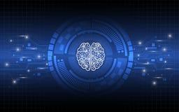 运作数字式概念摘要背景的创造性的脑子 库存图片
