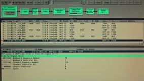 运作的协议测试器显示器在技术站点 股票视频