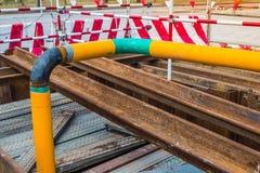 运作的建筑气体管道 库存照片