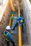 运作的建筑气体管道 库存图片