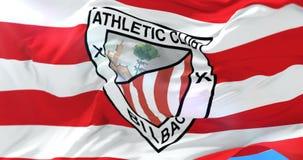 运动俱乐部毕尔巴鄂,西班牙足球俱乐部旗子,挥动在风,圈 库存例证