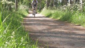 运动员人通过自行车的森林驾驶 健康生活方式 影视素材