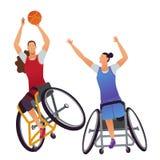 运动员以身体伤残 妇女轮椅篮球 向量例证