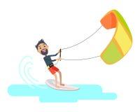 运动员参与在冲浪西班牙节日的风筝 免版税库存照片