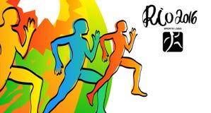 运动员墨水剪影 里约2016年例证 赛跑者体育彩票,海报,例证 库存图片