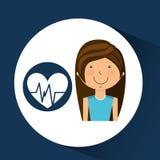 运动员女孩心脏脉冲体育样式 向量例证