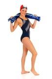 运动员女性游泳者 免版税库存照片