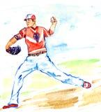 运动员投掷在领域的棒球运动员投手球 皇族释放例证