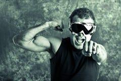 运动员挡雪板 免版税图库摄影