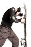 运动员挡雪板 库存照片