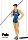 运动员撑竿跳高 免版税库存图片