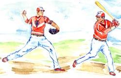 运动员棒球运动员:准备一投掷球投手的和的别的击中与棒 皇族释放例证