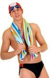 运动员游泳者毛巾 库存照片