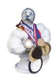 运动员滑稽的小雕象 库存图片