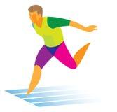 运动员短跑选手在结束积累 库存例证