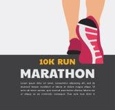 运动员跑或走在路的赛跑者脚 连续海报模板 特写镜头例证传染媒介 向量例证