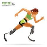 运动员以伤残 残奥 运行 运动妇女 义肢腿 冠军 横跨地 向量 免版税库存照片