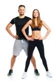 运动夫妇-男人和妇女在健身以后在wh行使 库存图片
