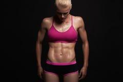 运动女孩 健身房概念 肌肉健身妇女,训练的女性身体 健康生活方式 免版税库存照片