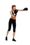 运动妇女拳击,隔绝在白色 免版税库存图片