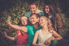 运动少年在采取selfie的公园 免版税库存图片