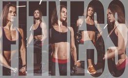 运动服的运动员女孩制定出和训练她的胳膊和肩膀与锻炼机器的在健身房 照片拼贴画  图库摄影
