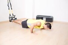 运动的人做腿停止训练 免版税图库摄影