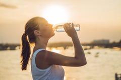 运动的妇女饮用水室外在晴天 免版税库存图片