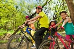 运动的家庭自行车旅行在晴朗的春天森林里 库存照片