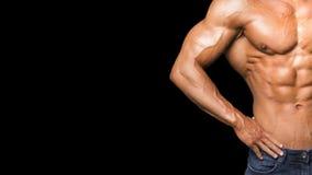运动的强的肌肉画象  体育锻炼建身的刺激概念 性感的赤裸躯干,六块肌肉吸收 男 库存图片