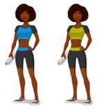运动的成套装备的年轻非裔美国人的女孩 免版税图库摄影