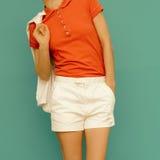 运动的样式 在流行的服装的模型 库存图片
