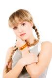 年轻运动的白肤金发的妇女 免版税库存照片