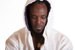 运动衫夹克的非裔美国人有敞篷的 免版税库存图片