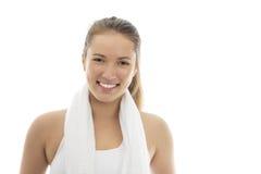运动装的微笑的女孩 免版税库存照片