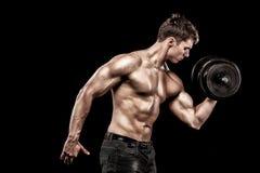 运动赤裸上身的年轻体育人-健身模型举行在健身房的哑铃 复制空间前面您的文本 免版税库存照片