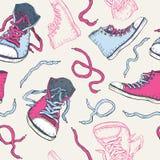 运动鞋。鞋子无缝的样式。 免版税图库摄影
