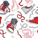 运动鞋。 鞋子无缝的模式。 免版税库存图片
