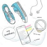 运动鞋和手机和咖啡 免版税库存图片