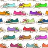 运动鞋的无缝的样式 免版税库存图片