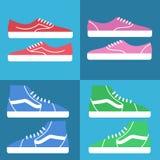 运动鞋穿上鞋子象 平的传染媒介集合 免版税图库摄影
