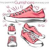 运动鞋 从不同的角度设置 向量例证
