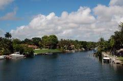 运河住宅的迈阿密 库存照片