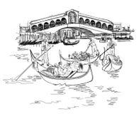 运河全部威尼斯 Rialto桥梁的视图 库存照片
