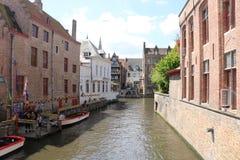 运河在布鲁日比利时 库存图片