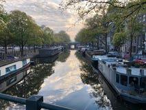 运河在阿姆斯特丹早晨 库存照片