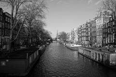 运河在阿姆斯特丹,荷兰(2015 12月) 免版税库存照片