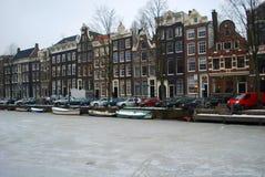 冻运河在阿姆斯特丹 库存图片