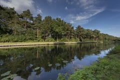 运河在Balen,比利时 免版税库存照片