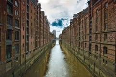 运河在Hamborg 库存照片